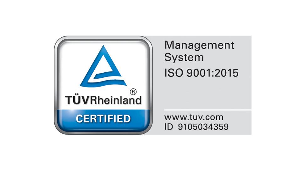 TUV Rheinland Certificação de Sistemas de Gestão da Qualidade ISO 9001:2015 ID 01 100 054350.